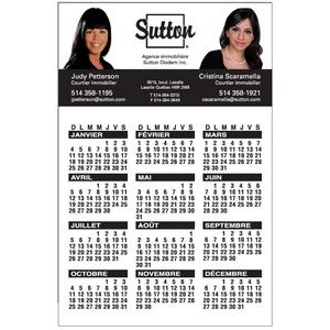 "14 Pts White Card Stock Magnetic Calendar, (4""x6""), Full Colour both sides"
